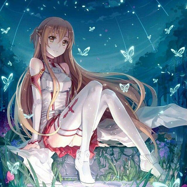 Anime girl at night time