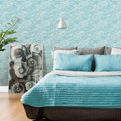 A Street Prints Mare Wave 10m x 52cm Grey White Wallpaper Roll