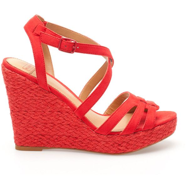 Pull & Bear Crossover Strap Jute Wedges (£9.99) ❤ liked on Polyvore featuring shoes, sandals, heels, plataformas, red, red shoes, red sandals, wedge heel shoes, red wedge sandals and red wedge heel sandals