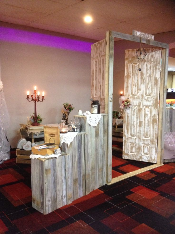 Ceremony doors Rustic Country Vintage Simple styling  Wedding planner,  Lace, doileys, country roses, wrought iron Bench seats, ceremony signing table ideas, candelabra, old book stacks, crates, bric-a-brac, cream cans