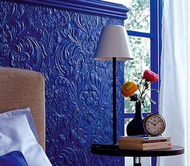 T te de lit originale fabriquer avec du papier peint 3d - Fabriquer tete de lit papier peint ...