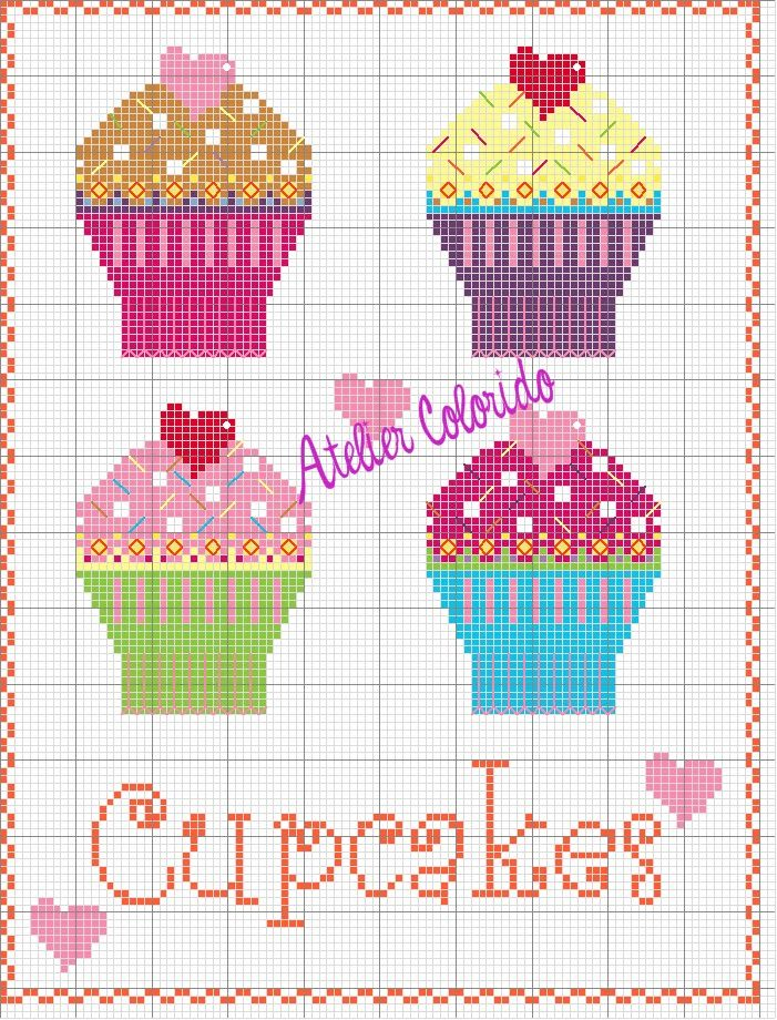 Cupcakes Crafts cross stitch design for a selection of cute cupcakes
