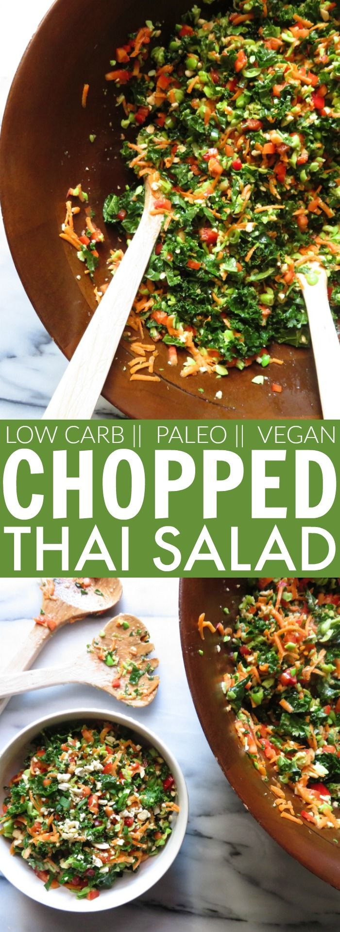 LOVE the flavors of this low carb, gluten free + paleo Chopped Thai Salad!! So healthy and packed with goodies! The leftovers are even MORE amazing! thetoastedpinenut.com #glutenfree #paleo #lowcarb #salad