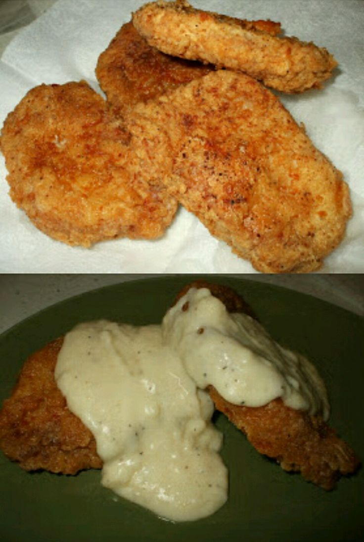 Old fashioned southern fried pork chop. Lean boneless pork with a bit of flour, spice and fried in canola oil. If you keep...