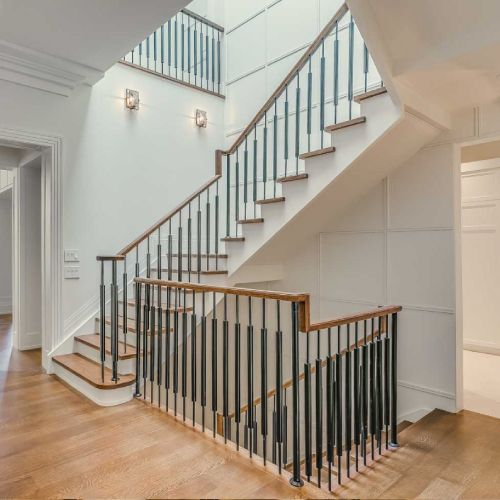 Residential architecture by Toronto architect, Lorne Rose. These images are of a property in the Forest Hill neighbourhood of Toronto. #architecture #toronto #luxury #home #renovation #residentialarchitect #architect #modern #foresthill #interior #design #decoration #interiordesign #interiordecorating #stairs #staircase #wood #spiralstaircase #white