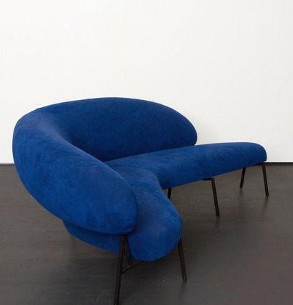 Pierre Székely; Enameled Iron Sofa for 'Le Bateau Ivre', c1953.