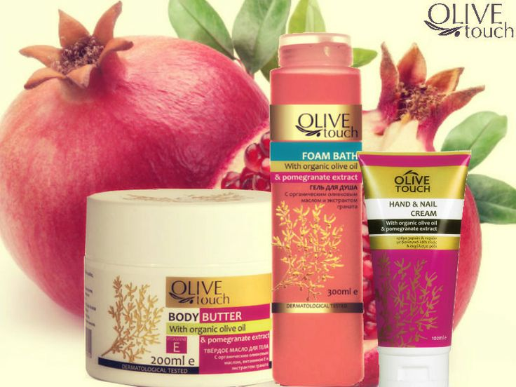 Pommegranate... combo!  1. Bodybutter 2. Foam Bath 3.Hand&Nail Cream ... with oils of biological cultivation and pommegranate extract.  #pomegranate #handcream #bodybutter #showergel #foambath #olivetouch