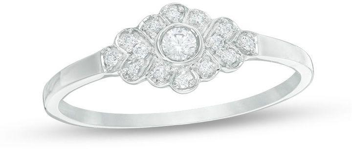 Zales 1/6 CT. T.W. Diamond Chevron Ring in 10K White Gold