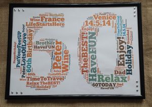 60th Birthday Word Art Frame with silver studs