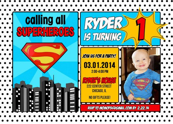 Superman Superhero Birthday Invitation 1st 2nd 3rd 4th 5th 6th 7th 8th 9th 10 5x7