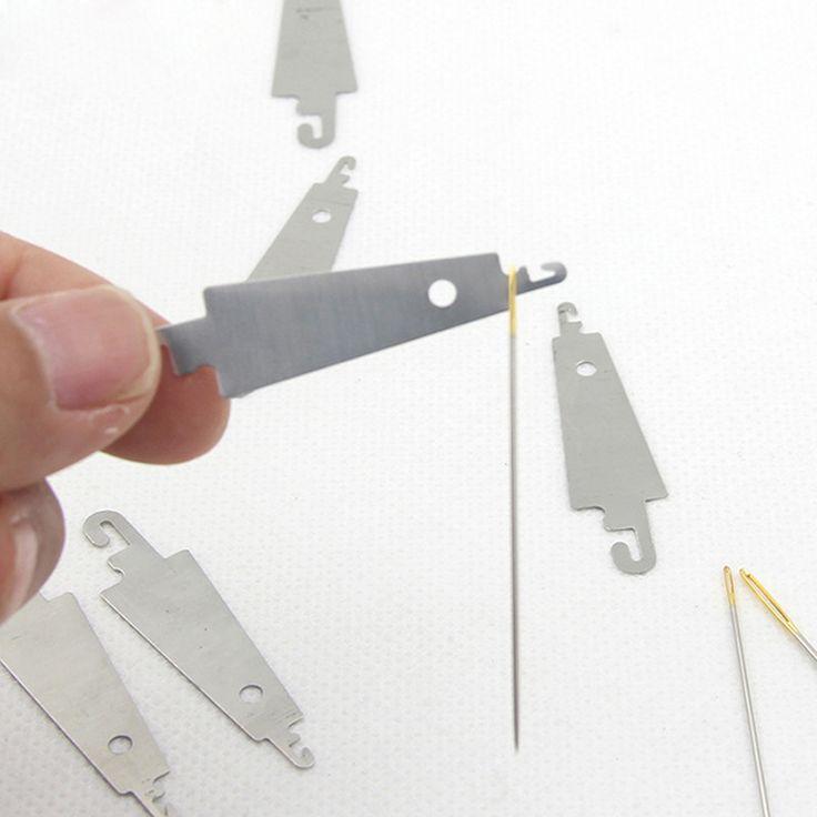 10 stks Stalen Haak naaldinrijger helpen voor hand sew lint borduren cross x stiksels naaien DIY tool craft handwerken set