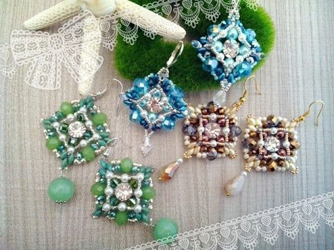 Tutorial orecchini Clarissa earrings, chaton, superduo, czech crystals...