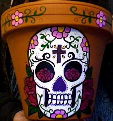day of the dead hand painted pot