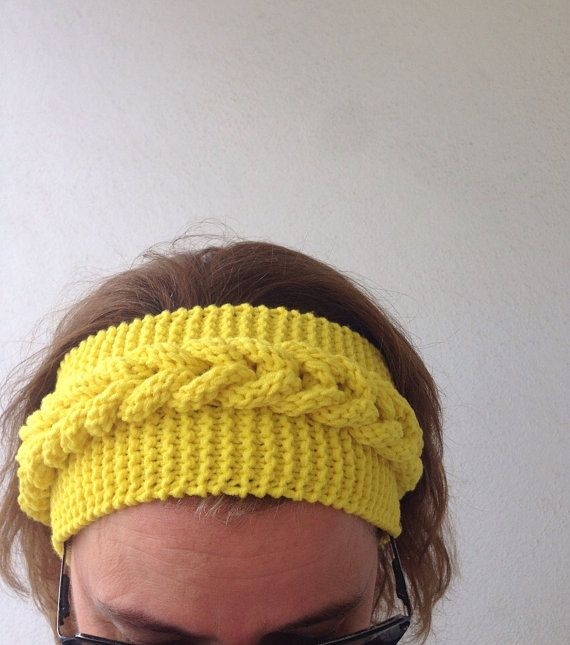 Headband in Yellow handknitted headbandear by Yellowcrochet