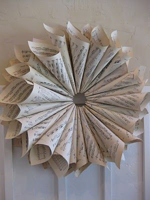{Primp}: Vintage Sheet Music Wreath Tutorial...use old book pages & something for the center