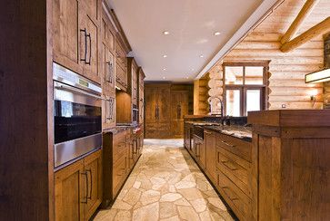 OKANAGAN LOG HOME - rustic - kitchen - other metro - Sticks and Stones Design Group inc.   (Kitchen Floor)
