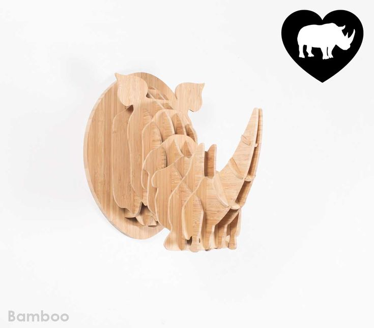Medium bamboo rhino trophy head. We are donating 10% of proceeds of sales to a young boys inspiring cause to save baby orphan rhino Osita, Raise the baby rhino with Hunter.