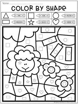 Color By Shape Freebie Farm Shapes Numbers Preschool