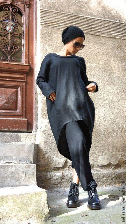 Купить Рубашка из льна Black Heart - чёрный, рубашка, черная рубашка, свободная рубашка, туника