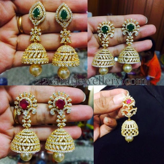 Jewellery Designs: 1 Gram Gold Jhumkas 2200 Each