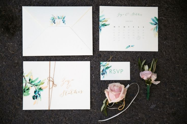 Hand painted Invitations : Olive trees graphics and nude colours :)