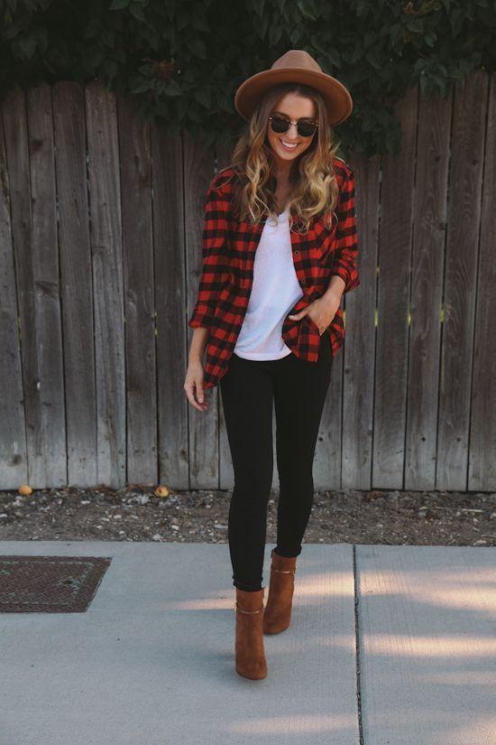 Black skinnies + beige/brown booties + white tee + red/black flannel + beige hat