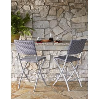 COSCO Outdoor Living Transitional 2-pack Delray Steel Woven Wicker High Top Folding Patio Bistro Stools | Overstock.com Shopping - The Best Deals on Dining Chairs