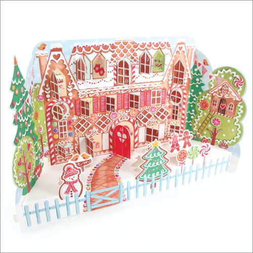 ADV30 Gingerbread House Advent Calendar by Phoenix Trading. Open a window each day to see what is behind. Only £7.50 and can be ordered at www.nichola.cards