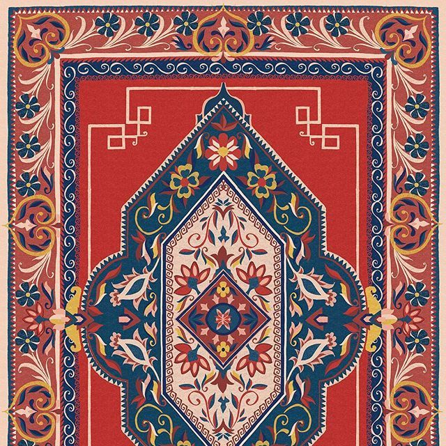 The Life Size 1920s Persian Rug I Illustrated For The Kitchen Installation At The Museum Of Royal Worcester The Original Persian Rug Designs Persian Rug Rugs