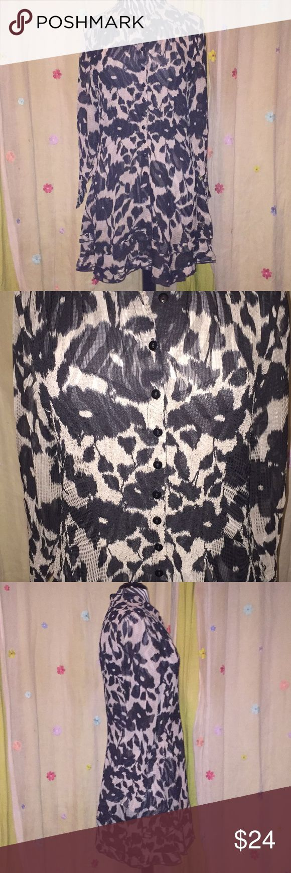 NWOT-Sheer textured tunic Beautiful button front tunic. Feminine double ruffle bottom with texted details in several places throughout. Jerry T Tops Tunics