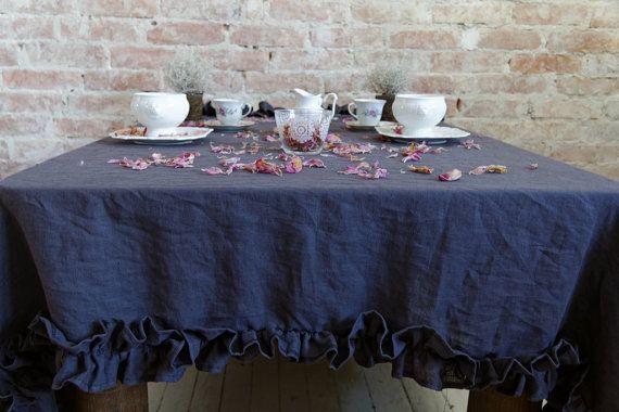 Linen tablecloth with ruffles 100% flax  Natural linen