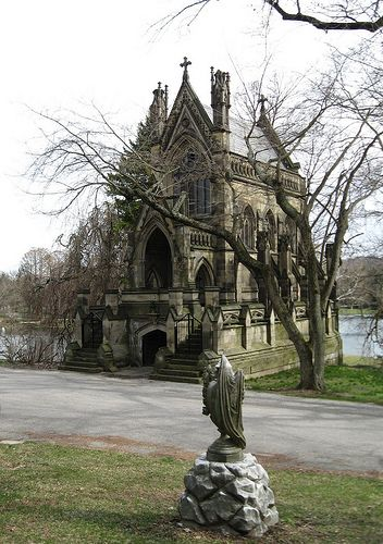 Unbelievably, this is a family mausoleum - Dexter Mausoleum in Spring Grove Cemetery, Cincinnati OH. Sadly, although large and fancy, it is made of sandstone and is decaying.
