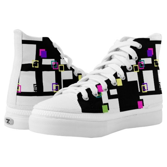 Colorful and Black Square Mix Zipz High Top Shoes Unisex #unisex #sneakers #zipz #teen