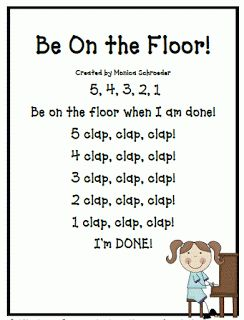Singing is Learning,                               FREE Be on the Floor Rap I love using music and singing with my kiddos.  Keeping them busy during transitions keeps them focused.
