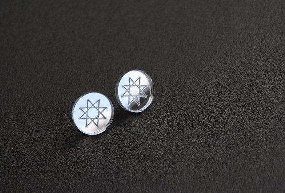 Mirror studs mirror acrylic earrings round studs by elfinadesign