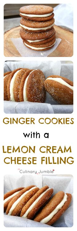 Ginger Cookies with a Lemon Cream Cheese Filling