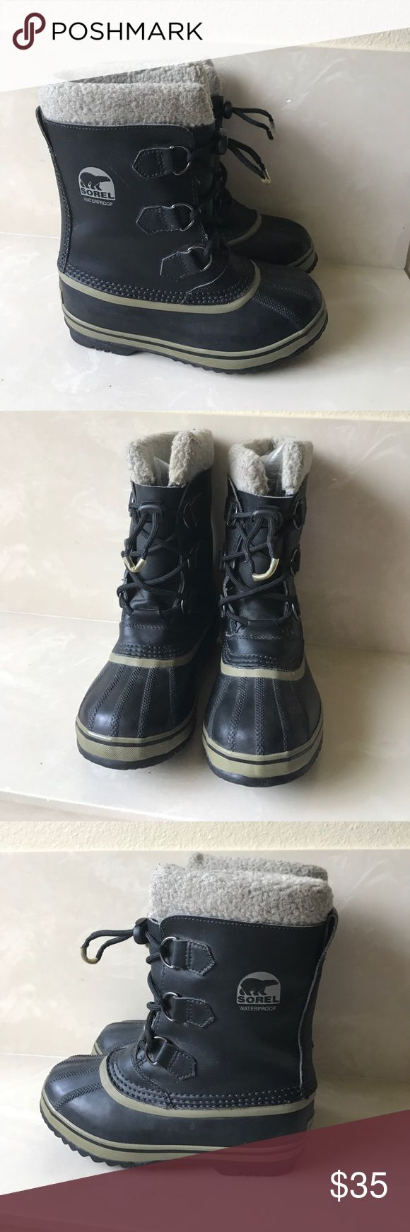 Sorel boys winter boots sz 3 Sorel boys winter boots sz 3 good condition liners are slightly worn and need cleaning Sorel Shoes Rain & Snow Boots
