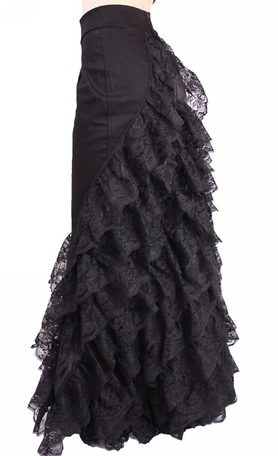 long, black lace skirt                                                                                                                                                                                 More