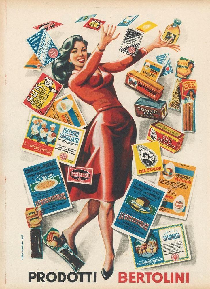 Pubblicità rivista alimenti Bertolini lievito vanillina 1960 ca. advertising