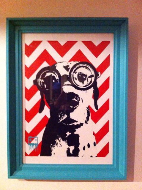 Graffiti stencil, spray paint, Dalmatian, dog, Hipster
