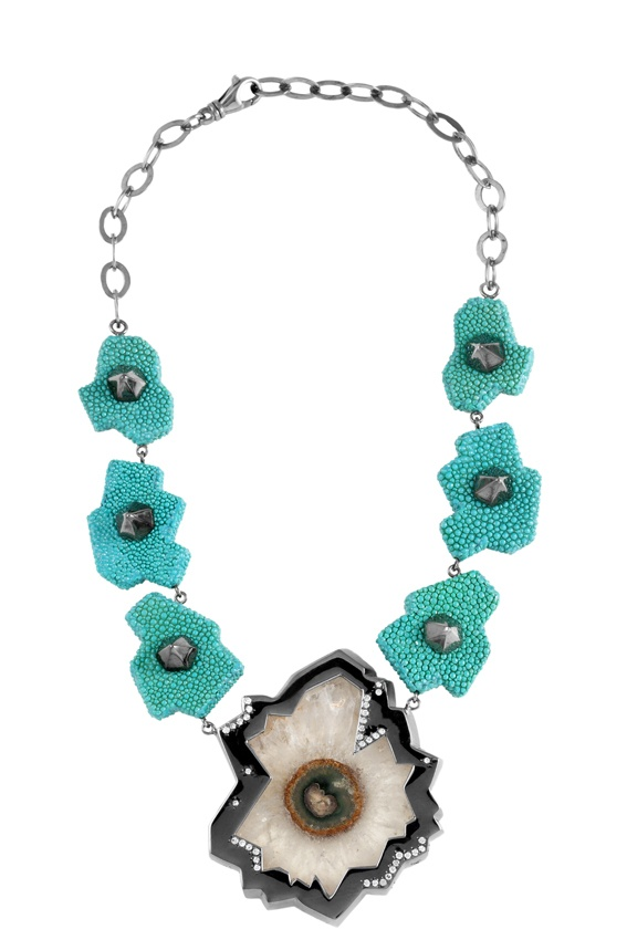 "Giuliana Mancinelli Bonafaccia - Turquoise galuchat leather necklace with silver dipped in black ruthenium, rock crystal ""flower"" and diamonds."