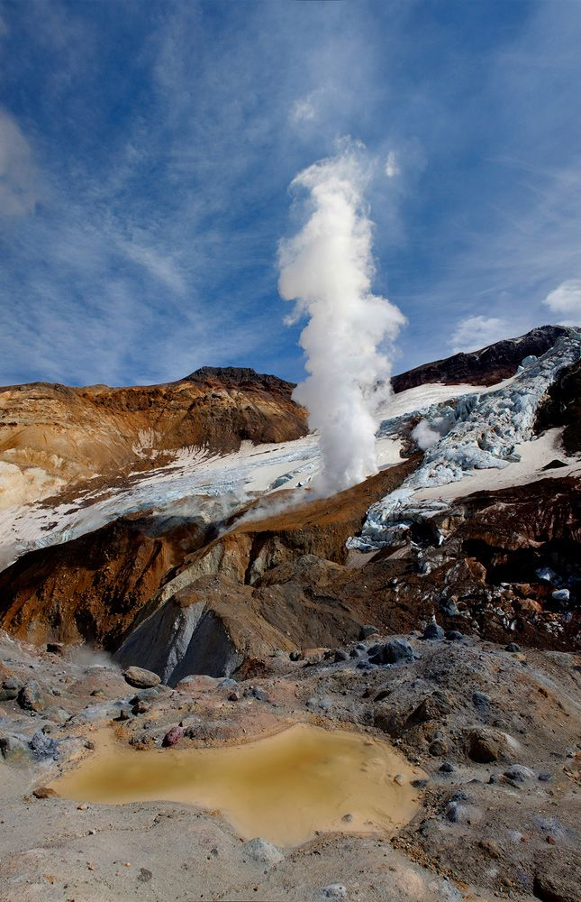 Mutnovsky volcano's crater. Kamchatka, Siberia, Russia.