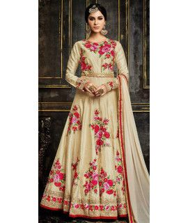 Expectional Beige Georgette Anarkali Suit.