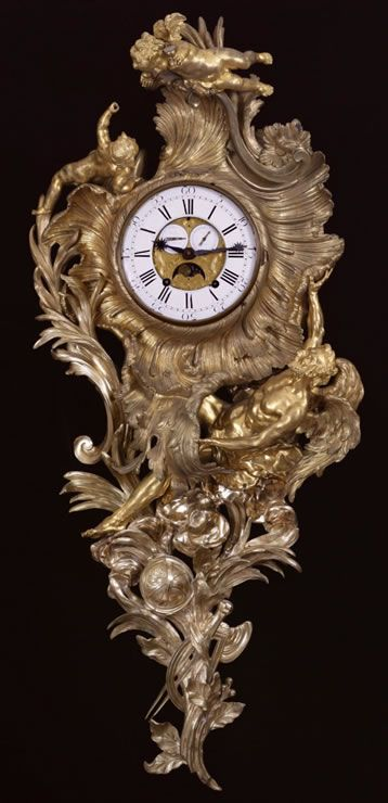 Fine and rare early Louis XV ormolu and bronze vernissé cartel clock probably designed by Meissonier.