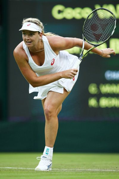 Coco Vandeweghe of the United States serves during the Ladies Singles first round match against Kateryna Bondarenko of Ukraine on day two of the Wimbledon Lawn Tennis Championships at the All England Lawn Tennis and Croquet Club on June 28, 2016 in London, England.