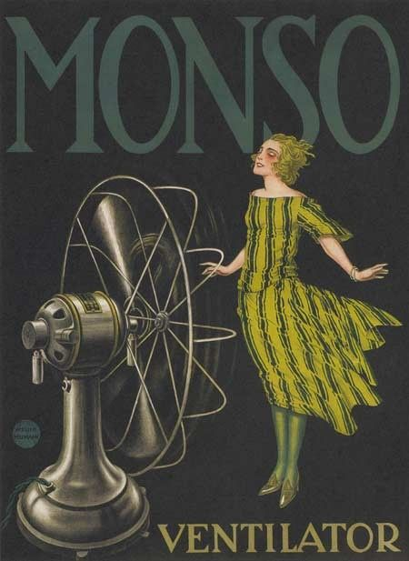 Vintage 1920s Monso Fans French Advertising Poster
