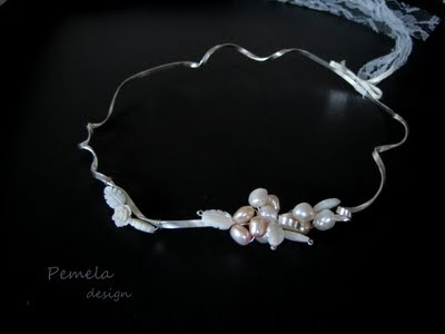 """Romantic"" wedding crowns made of silver with pearls and ivory by www.pemeladesign.com"