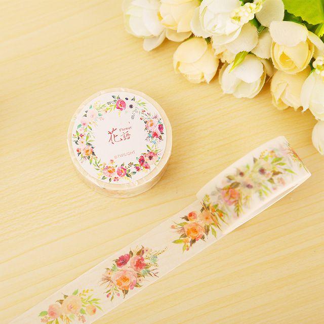 2 cm * 8 m Flores fita washi fita adesiva fita adesiva etiqueta DIY decoração scrapbooking planejador papelaria adesivo