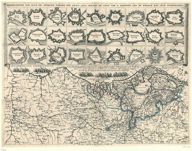 Kaart met Nederlandse vestingsteden die in Rampjaar 1672 (einde Gouden Eeuw) werden veroverd door de Fransen
