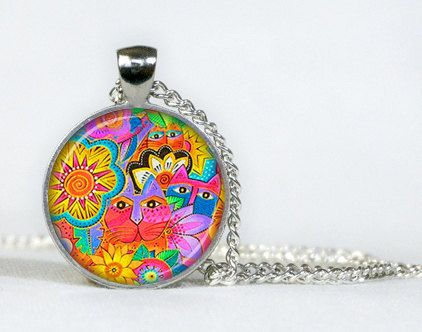 Colorful Cats pendant. Necklace. Colorful Cats Jewellery. Necklace pendant. Gifts for her. Gifts for him.